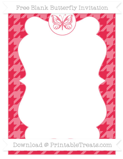 Free Amaranth Pink Houndstooth Pattern Blank Butterfly Invitation