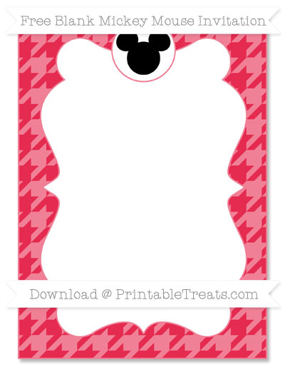 Free Amaranth Pink Houndstooth Pattern Blank Mickey Mouse Invitation