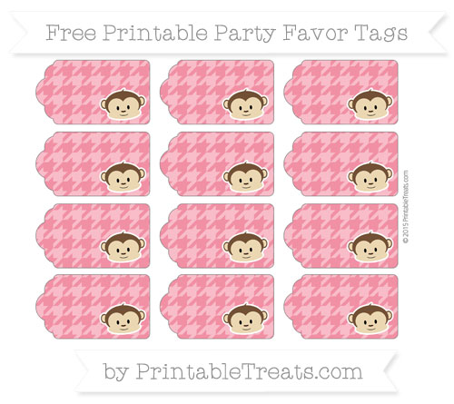 Free Amaranth Pink Houndstooth Pattern Boy Monkey Party Favor Tags