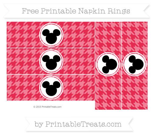 Free Amaranth Pink Herringbone Pattern Mickey Mouse Napkin Rings