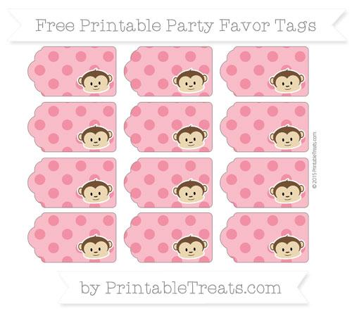 Free Amaranth Pink Polka Dot Boy Monkey Party Favor Tags