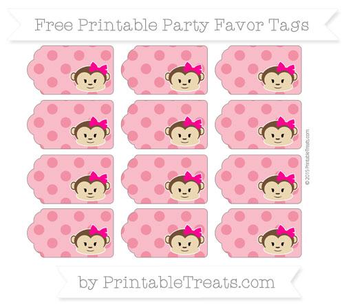Free Amaranth Pink Polka Dot Girl Monkey Party Favor Tags