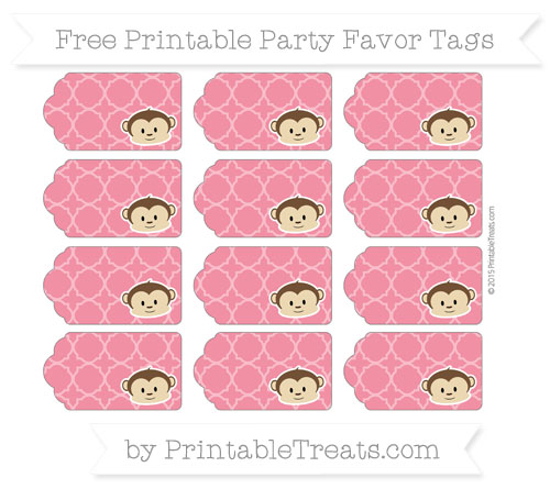 Free Amaranth Pink Quatrefoil Pattern Boy Monkey Party Favor Tags