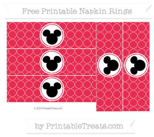 Free Amaranth Pink Quatrefoil Pattern Mickey Mouse Napkin Rings