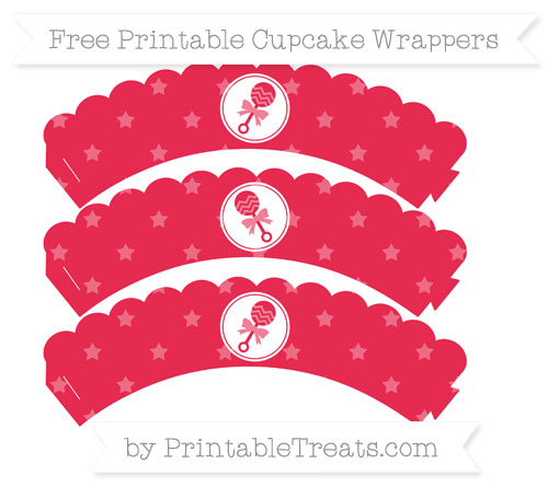 Free Amaranth Pink Star Pattern Baby Rattle Scalloped Cupcake Wrappers