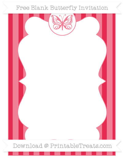 Free Amaranth Pink Striped Blank Butterfly Invitation