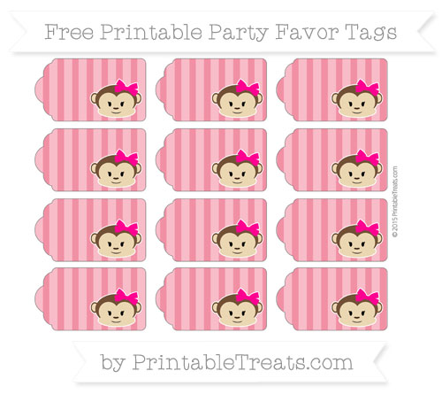 Free Amaranth Pink Striped Girl Monkey Party Favor Tags