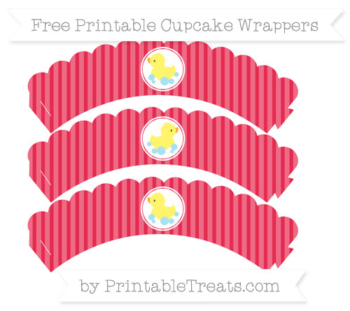 Free Amaranth Pink Thin Striped Pattern Baby Duck Scalloped Cupcake Wrappers