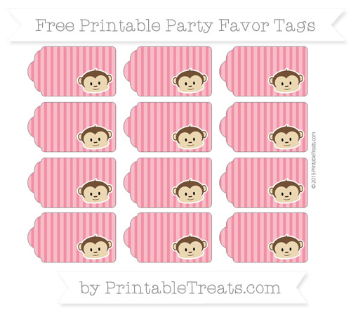 Free Amaranth Pink Thin Striped Pattern Boy Monkey Party Favor Tags
