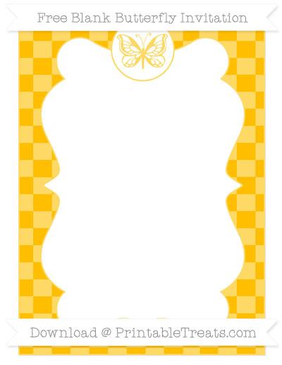 Free Amber Checker Pattern Blank Butterfly Invitation