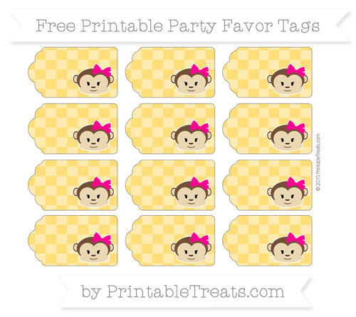 Free Amber Checker Pattern Girl Monkey Party Favor Tags