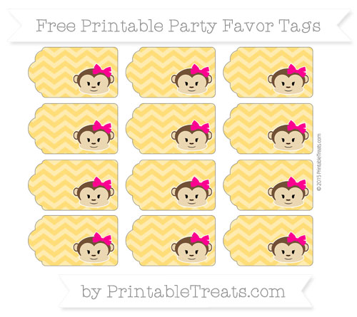 Free Amber Chevron Girl Monkey Party Favor Tags