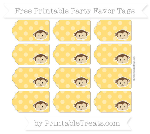 Free Amber Dotted Pattern Boy Monkey Party Favor Tags