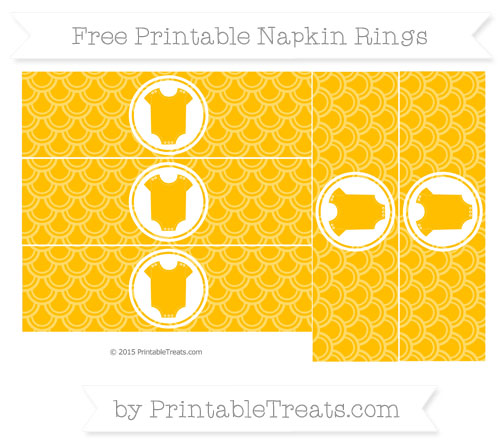 Free Amber Fish Scale Pattern Baby Onesie Napkin Rings