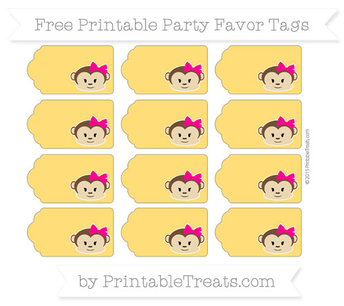 Free Amber Girl Monkey Party Favor Tags