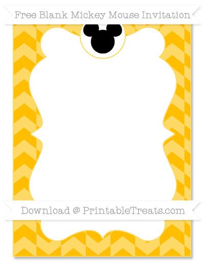 Free Amber Herringbone Pattern Blank Mickey Mouse Invitation