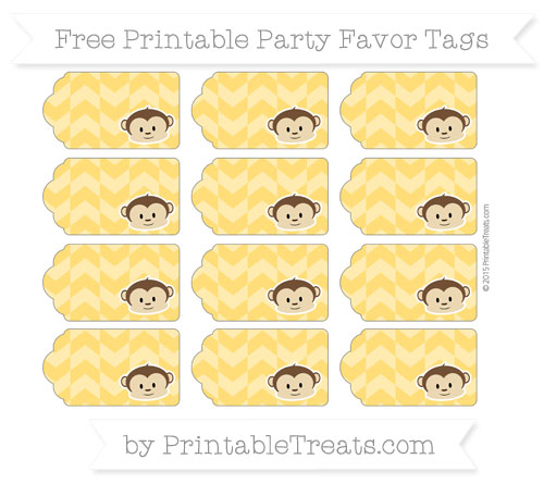 Free Amber Herringbone Pattern Boy Monkey Party Favor Tags