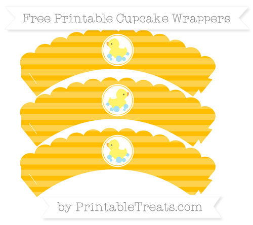 Free Amber Horizontal Striped Baby Duck Scalloped Cupcake Wrappers