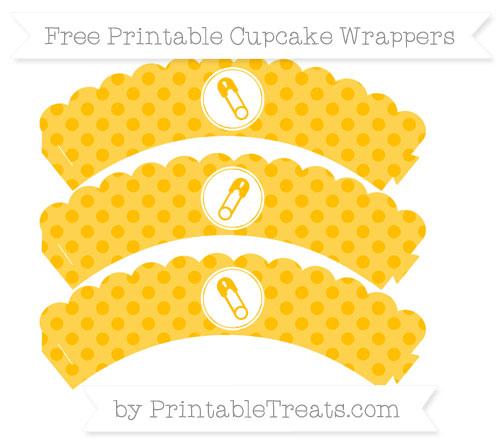 Free Amber Polka Dot Diaper Pin Scalloped Cupcake Wrappers