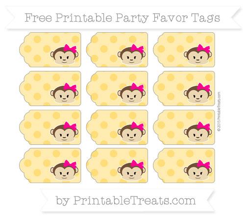 Free Amber Polka Dot Girl Monkey Party Favor Tags