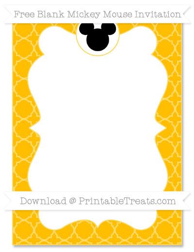 Free Amber Quatrefoil Pattern Blank Mickey Mouse Invitation