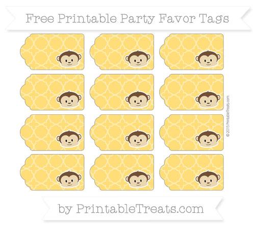 Free Amber Quatrefoil Pattern Boy Monkey Party Favor Tags