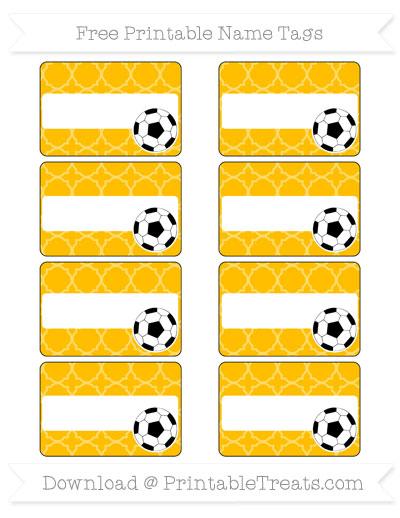 Free Amber Quatrefoil Pattern Soccer Name Tags