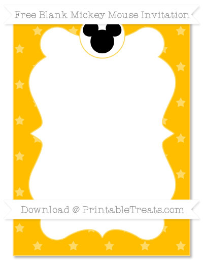 Free Amber Star Pattern Blank Mickey Mouse Invitation