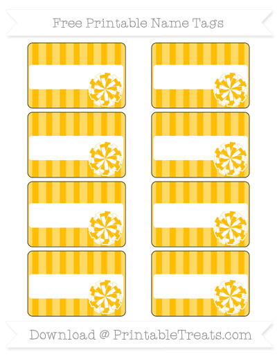 Free Amber Striped Cheer Pom Pom Tags