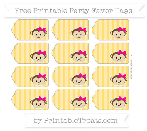Free Amber Striped Girl Monkey Party Favor Tags
