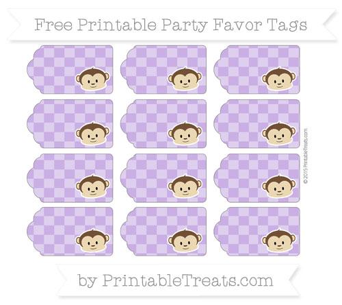 Free Amethyst Checker Pattern Boy Monkey Party Favor Tags
