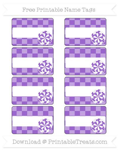 Free Amethyst Checker Pattern Cheer Pom Pom Tags