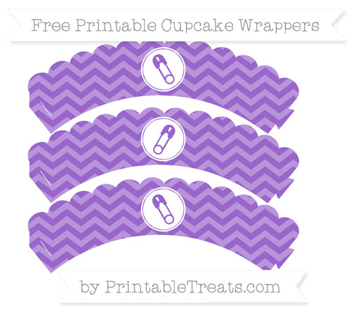Free Amethyst Chevron Diaper Pin Scalloped Cupcake Wrappers