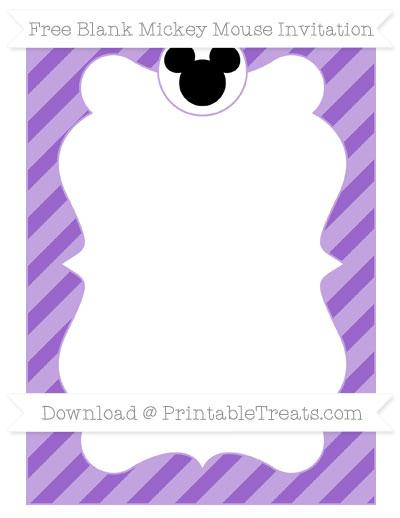 Free Amethyst Diagonal Striped Blank Mickey Mouse Invitation