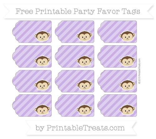 Free Amethyst Diagonal Striped Boy Monkey Party Favor Tags