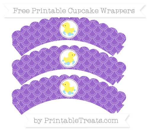 Free Amethyst Fish Scale Pattern Baby Duck Scalloped Cupcake Wrappers