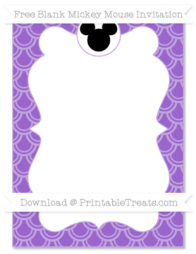 Free Amethyst Fish Scale Pattern Blank Mickey Mouse Invitation