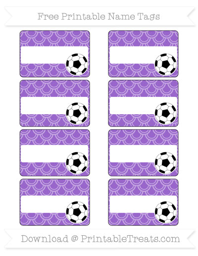 Free Amethyst Fish Scale Pattern Soccer Name Tags