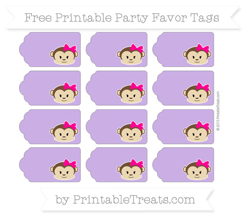 Free Amethyst Girl Monkey Party Favor Tags