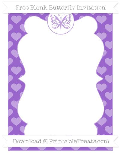 Free Amethyst Heart Pattern Blank Butterfly Invitation