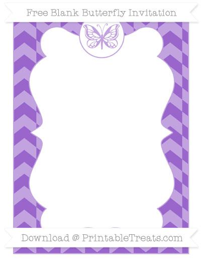 Free Amethyst Herringbone Pattern Blank Butterfly Invitation
