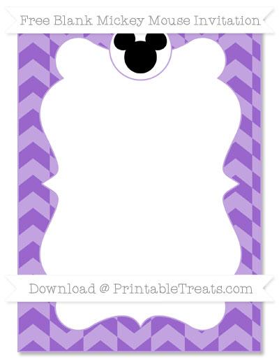 Free Amethyst Herringbone Pattern Blank Mickey Mouse Invitation