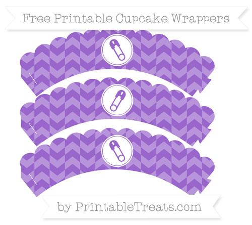 Free Amethyst Herringbone Pattern Diaper Pin Scalloped Cupcake Wrappers