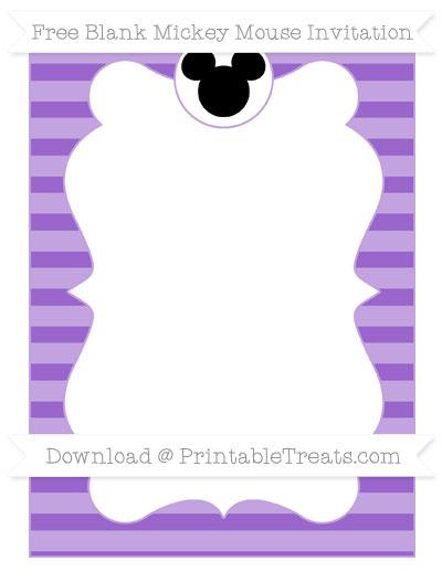 Free Amethyst Horizontal Striped Blank Mickey Mouse Invitation