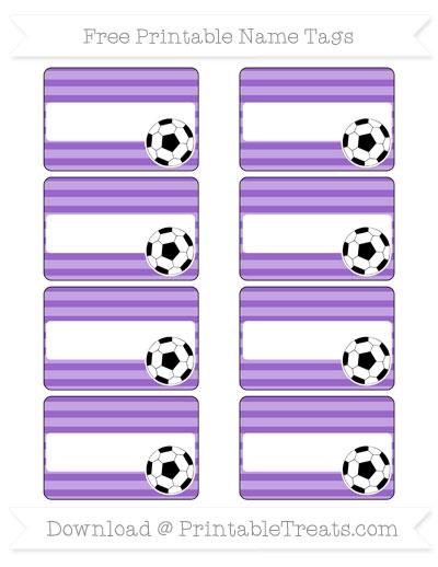 Free Amethyst Horizontal Striped Soccer Name Tags