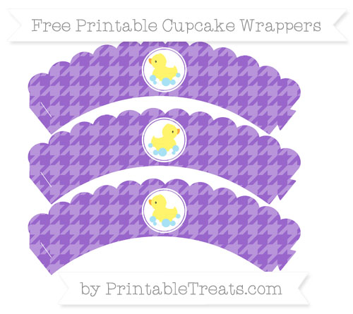 Free Amethyst Houndstooth Pattern Baby Duck Scalloped Cupcake Wrappers