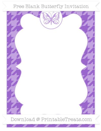 Free Amethyst Houndstooth Pattern Blank Butterfly Invitation