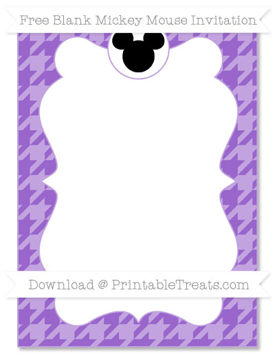 Free Amethyst Houndstooth Pattern Blank Mickey Mouse Invitation