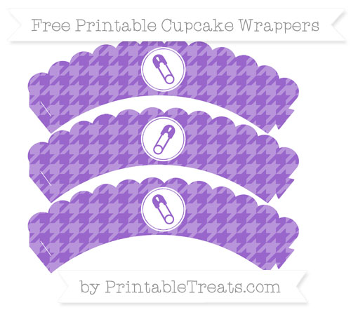 Free Amethyst Houndstooth Pattern Diaper Pin Scalloped Cupcake Wrappers