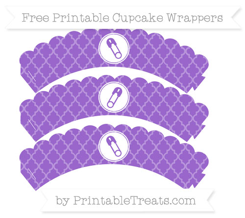 Free Amethyst Moroccan Tile Diaper Pin Scalloped Cupcake Wrappers